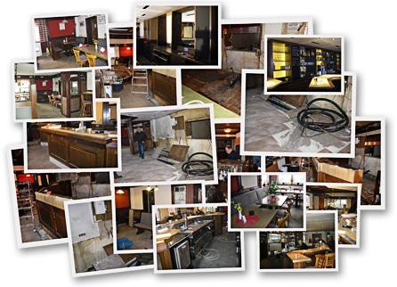 Bildcollage: Umbau und Renovierung der Gaststätte im Vereinsheim des KGV Hafenwiese